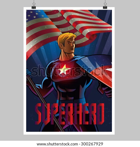 Superhero with the American flag. Poster layout