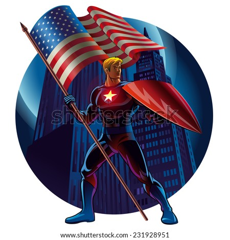 Superhero with the American flag. Vector illustration - stock vector
