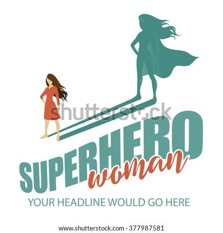 Superhero woman design template EPS 10 vector - stock vector