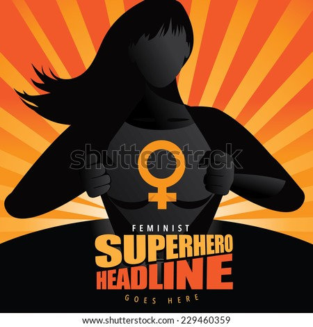 Superhero woman revealing symbol burst background Eps 10 vector illustration - stock vector
