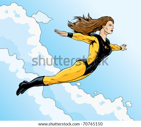 Superheroine flying free through the clouds.