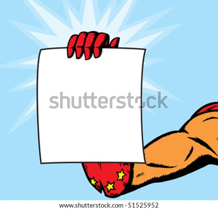 Superheroine holding page.  Anything can be put on it.  With vector, hand and flyer are on separate layers and can slightly be modified.