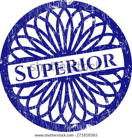 Superior blue rubber stamp distressed - stock vector