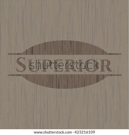 Superior retro wood emblem - stock vector