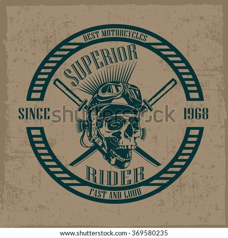 Superior rider with hand drawn skull and glasses, t-shirt design, dusty background