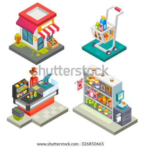 Supermarket and store stuff: cart with goods, store shelves, salesgirl, cashbox, cash desk,  scales. Flat vector stock illustration set.  - stock vector