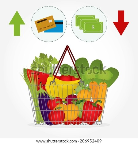 Supermarket basket full of vegetables and fruit like tomato, carrots, watermelon, apple, banana, pepper. Payment method: note bank or credit card. - stock vector