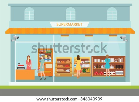 Supermarket building and interior with people buying products on shelves, shopping vector illustration. - stock vector