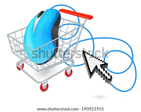 Supermarket cart 3d with computer mouse and click arrow internet shopping concept  vector illustration - stock vector