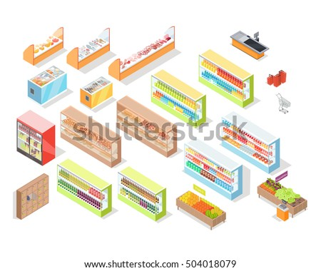 Supermarket departments interior set. Bakery, juices, alcohol, fruits, vegetables, milk, meat and fish, cheese. 3d isometric. Supermarket shelves. Grocery store self-service shop icons. Vector