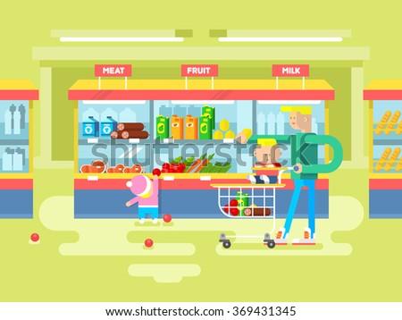 Supermarket design flat - stock vector
