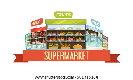 Supermarket Display Stand Retro Composition Poster Stock