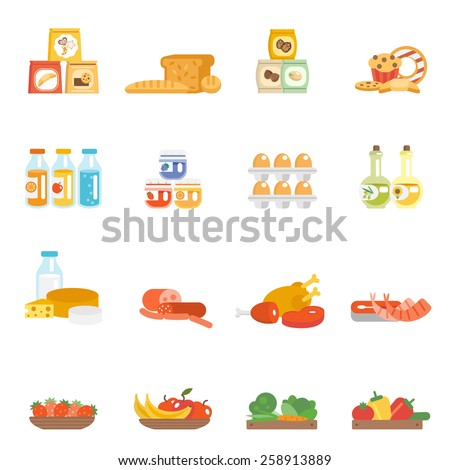 Supermarket food set with meat steak bakery eggs milk products isolated vector illustration - stock vector