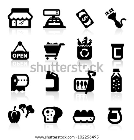 Supermarket icons set  Elegant series - stock vector