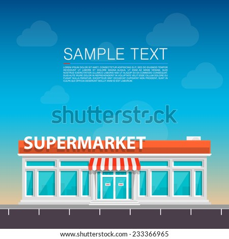 Supermarket on the roadside. Vector illustration - stock vector