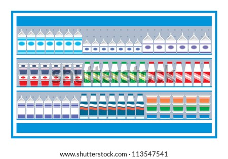 Supermarket shelves with dairy products. vector, color full, no gradient - stock vector