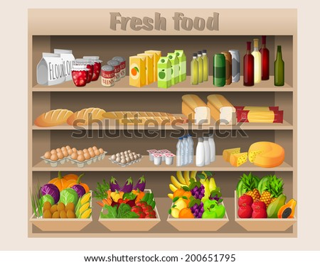 Supermarket shelves with food drinks fruits vegetables bread milk and grocery vector illustration - stock vector