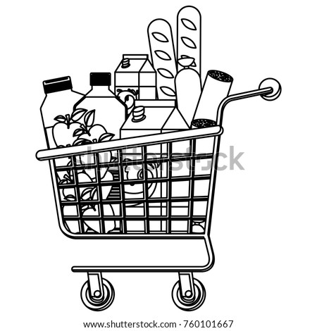 Grocery Cart Clipart Black And White