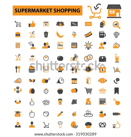 supermarket, shopping, grocery icons - stock vector