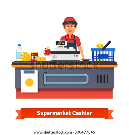 Supermarket store counter desk equipment and clerk in uniform ringing up grocery  purchases. Flat style vector illustration isolated on white background. - stock vector