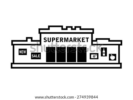 Supermarket Vector Icon On White Background Stock Vector ...