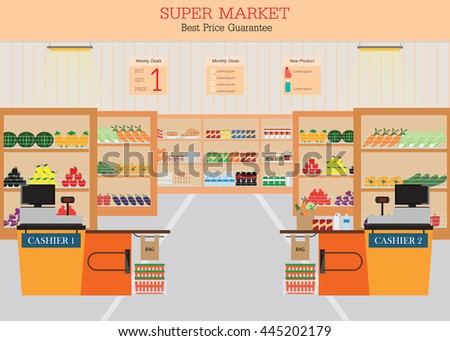 Supermarket with fresh food on shelves and counter cashier, Flat vector illustration.