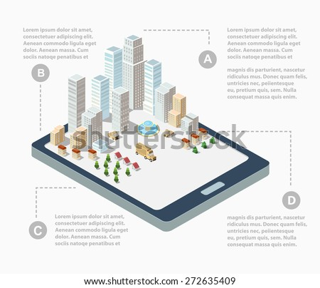 Supermarkets, skyscrapers and office buildings in urban areas of large cities - stock vector