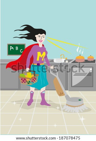 Supermom illustration vector. Mother's day concept - stock vector