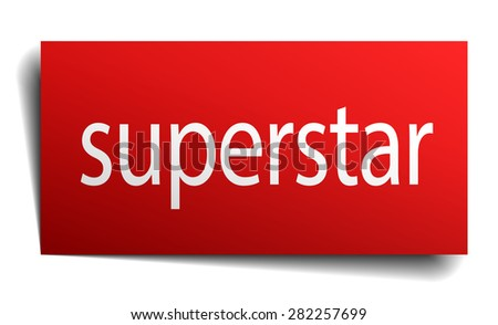 superstar red paper sign isolated on white