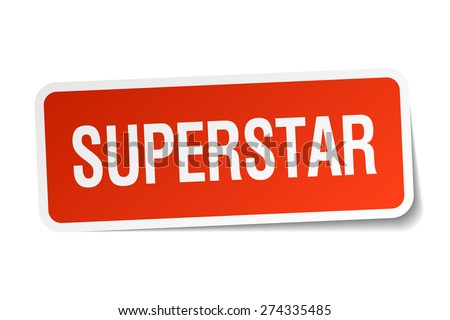 superstar red square sticker isolated on white