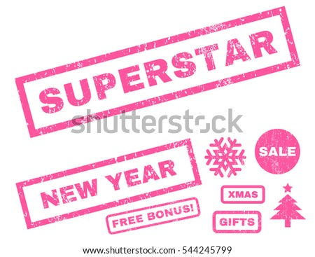 Superstar rubber seal stamp watermark with bonus design elements for Christmas and New Year sales. Text inside rectangular shape with grunge design and dust texture. Vector pink emblems.