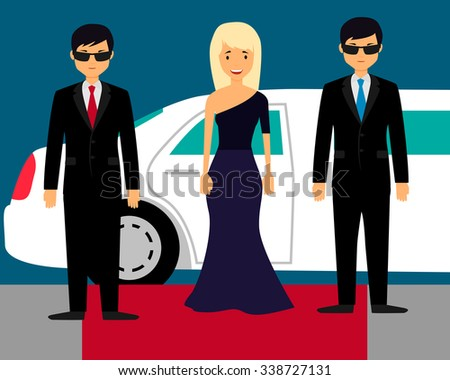 Superstar with bodyguards on the red carpet on the background of a limousine. Vector illustration - stock vector