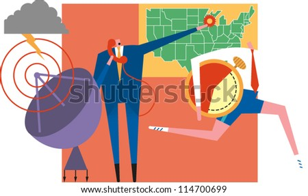 Supervisor on phone next to satellite dish points to hot spot on U.S. network map and sends messenger on his way with time constraints - stock vector