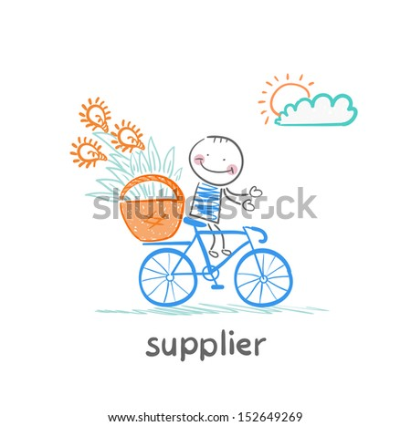 supplier supplier carries a bike basket with goods - stock vector