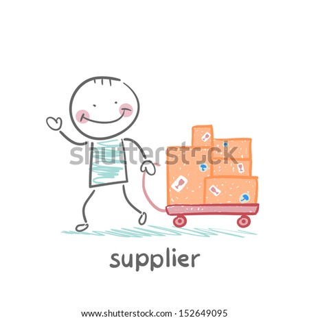supplier walks with a cart of goods - stock vector