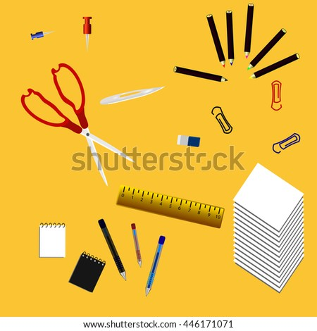 Supplies offices. ssissors and ruler, Paper the, Eraser, clips, Notepad. - stock vector
