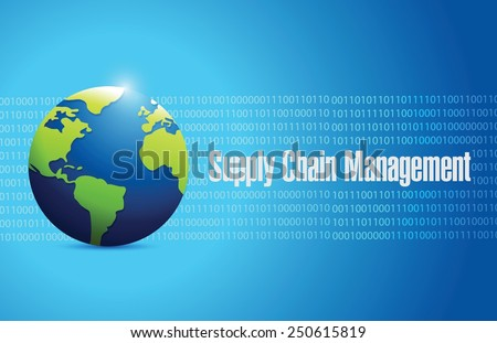 supply chain management globe sign illustration design over a blue background - stock vector