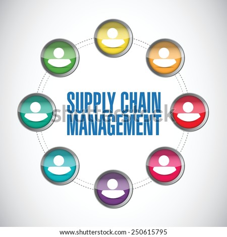 supply chain management people diagram illustration design over a white background - stock vector