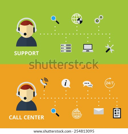 Support and Call Center Concept Illustration. Technical assistance and information. Vector illustration - stock vector
