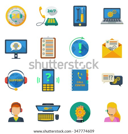 Support and customer service icons flat set isolated vector illustration  - stock vector