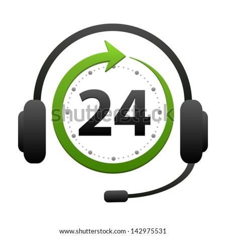 Support and help around the clock or 24 hours a day icon isolated on white background. Call center vector icon - stock vector