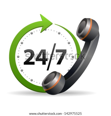 Support and service for customer around the clock or 24 hours and 7 days a week icon isolated on white background. Call center vector icon - stock vector