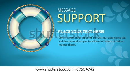 Support banner for web design - stock vector