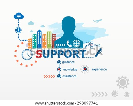 Support concept and business man. Flat design illustration for business, consulting, finance, management, career. - stock vector