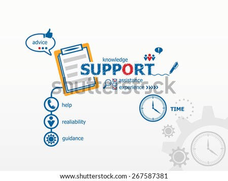 Support concept and notebook for efficiency, creativity, intelligence. Hand writing Support with blue marker - stock vector