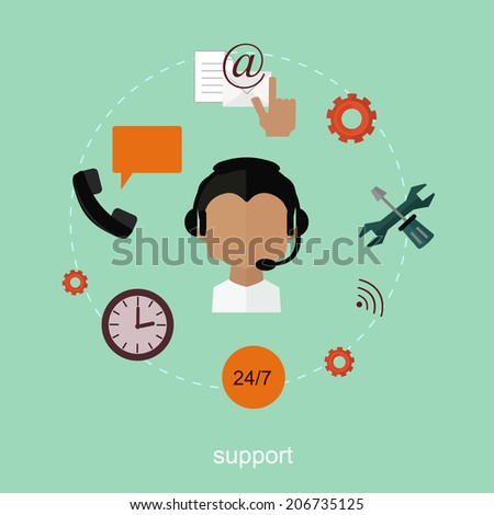 Support concept background - stock vector