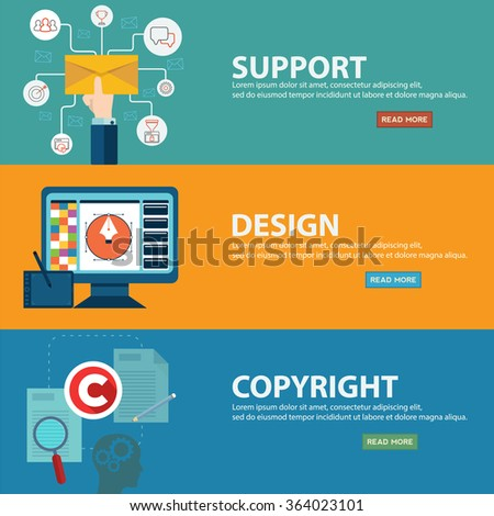 Support, design and copyright banners in flat style - stock vector