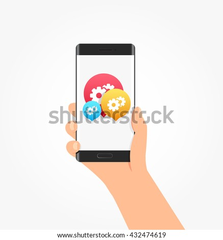 Support Icon Bubbles Phone Vector Illustration