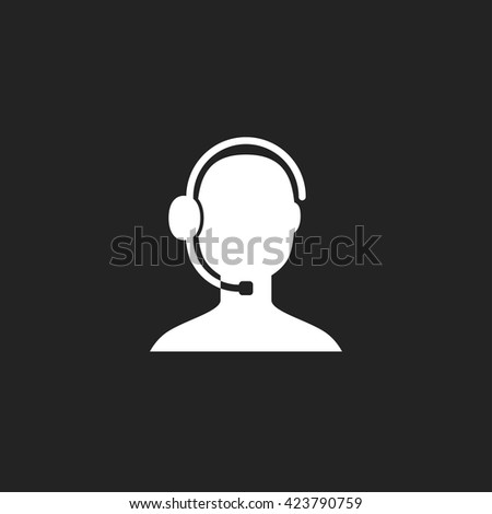Support Icon Fill White on Black Background - stock vector