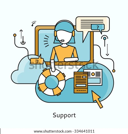 Support icon flat design concept. Service technical, business consultant, chat communication, internet web online technology, management and contact illustration - stock vector